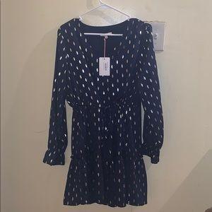 Luna foil ruffle dress